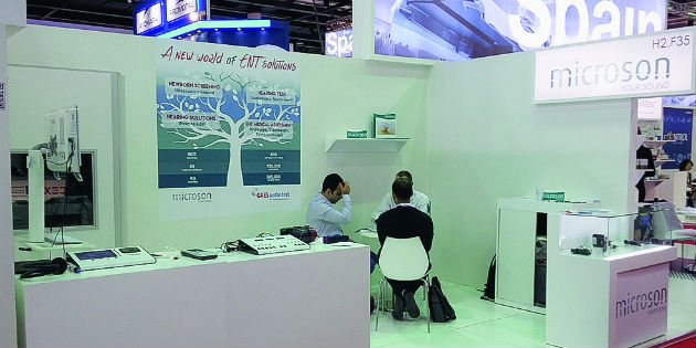 Estand de Microson y Gaes Audiotest en Arab Health